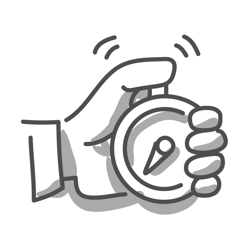 Eine gezeichnete Hand die eine Stoppuhr hält und die Zeit misst. LP/Concept als Essener Werbeagentur versucht ihre Performance zu messen und zu verbessern.